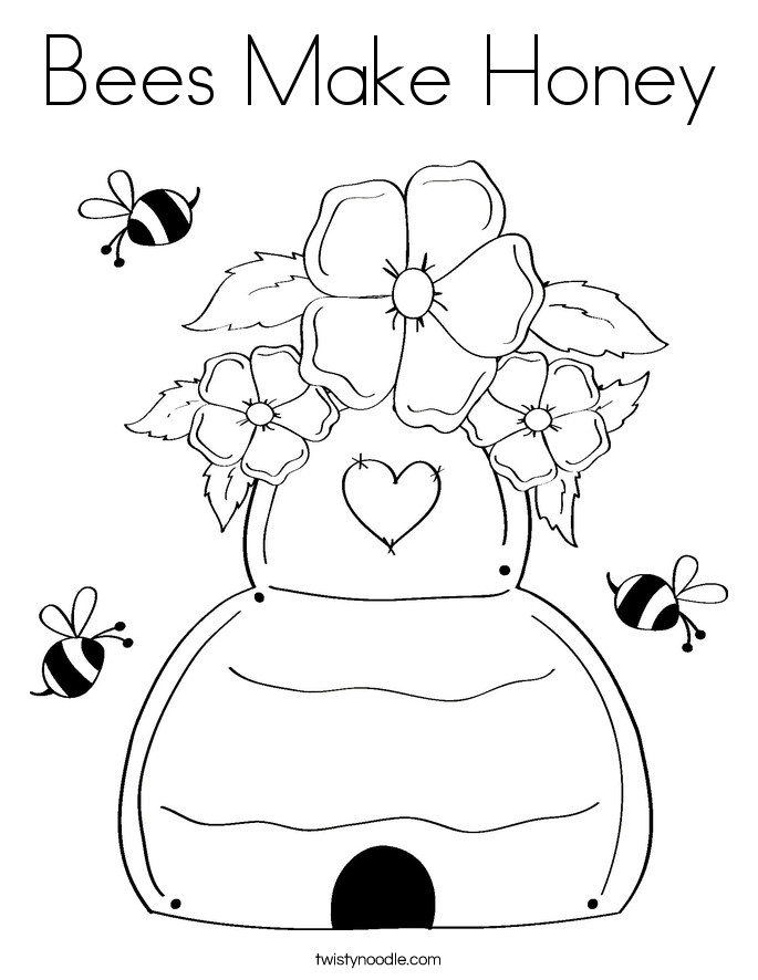 Best ideas about Honey Bee Coloring Pages For Kids . Save or Pin Bees Make Honey Coloring Page Twisty Noodle Now.