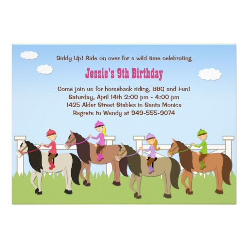 "Best ideas about Horse Riding Birthday Party . Save or Pin Horseback Riding Birthday Party Invitation 5"" X 7 Now."