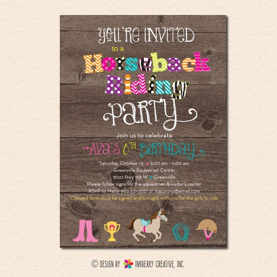 Best ideas about Horse Riding Birthday Party . Save or Pin Horseback Riding Birthday Party Invitation Digital File Now.
