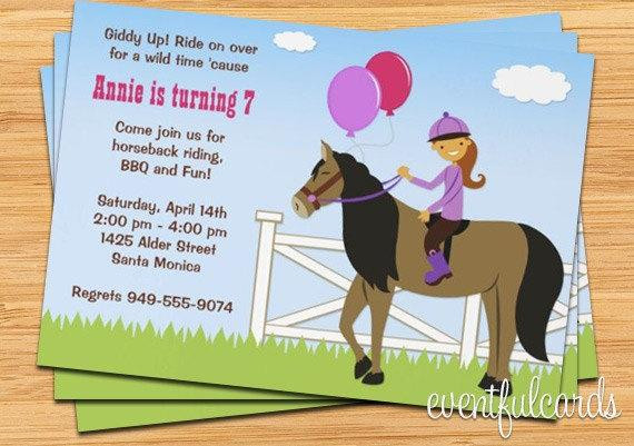 Best ideas about Horse Riding Birthday Party . Save or Pin Horseback Riding Birthday Party Invitation by Now.