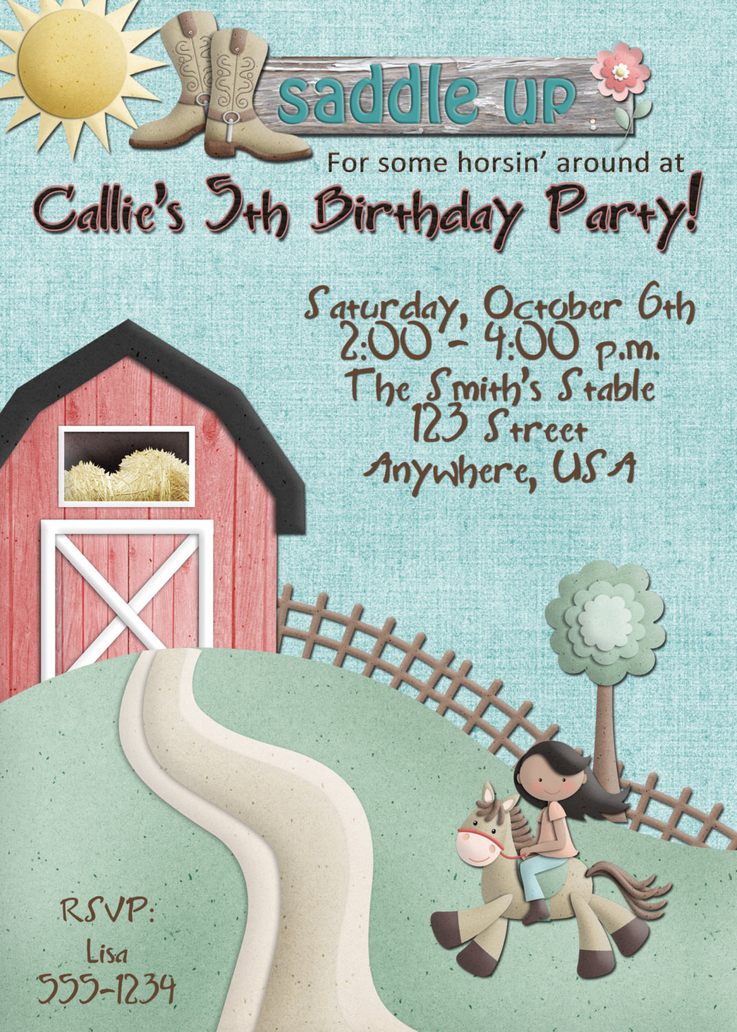 Best ideas about Horse Riding Birthday Party . Save or Pin Horse Riding Birthday Party Invitation GIRL Now.