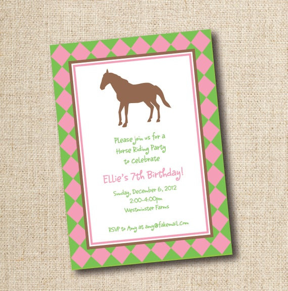 Best ideas about Horse Riding Birthday Party . Save or Pin Horseback riding birthday party invitation custom printable Now.