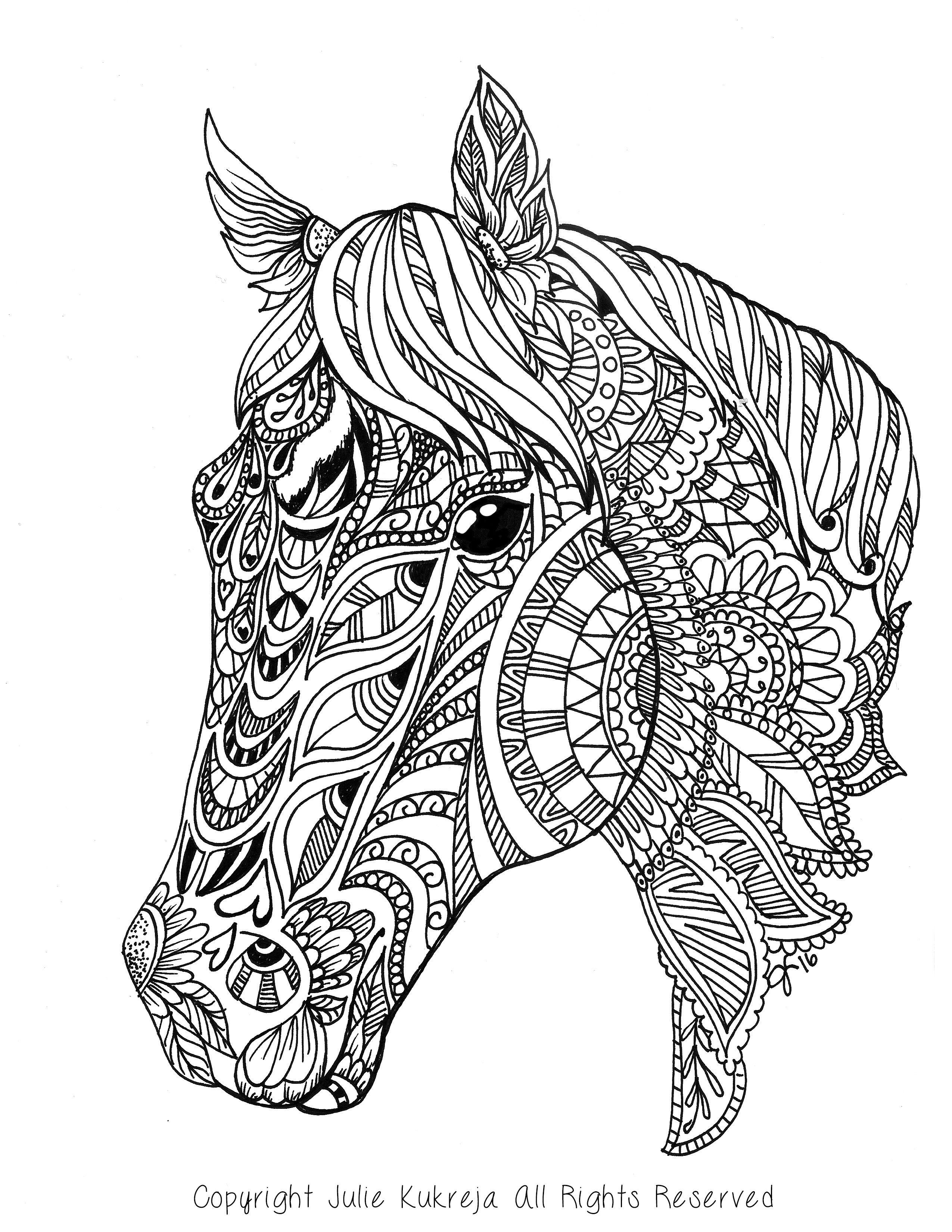 Best ideas about Horses Coloring Pages For Adults . Save or Pin Custom Pet Portrait horse adult coloring book style by Now.