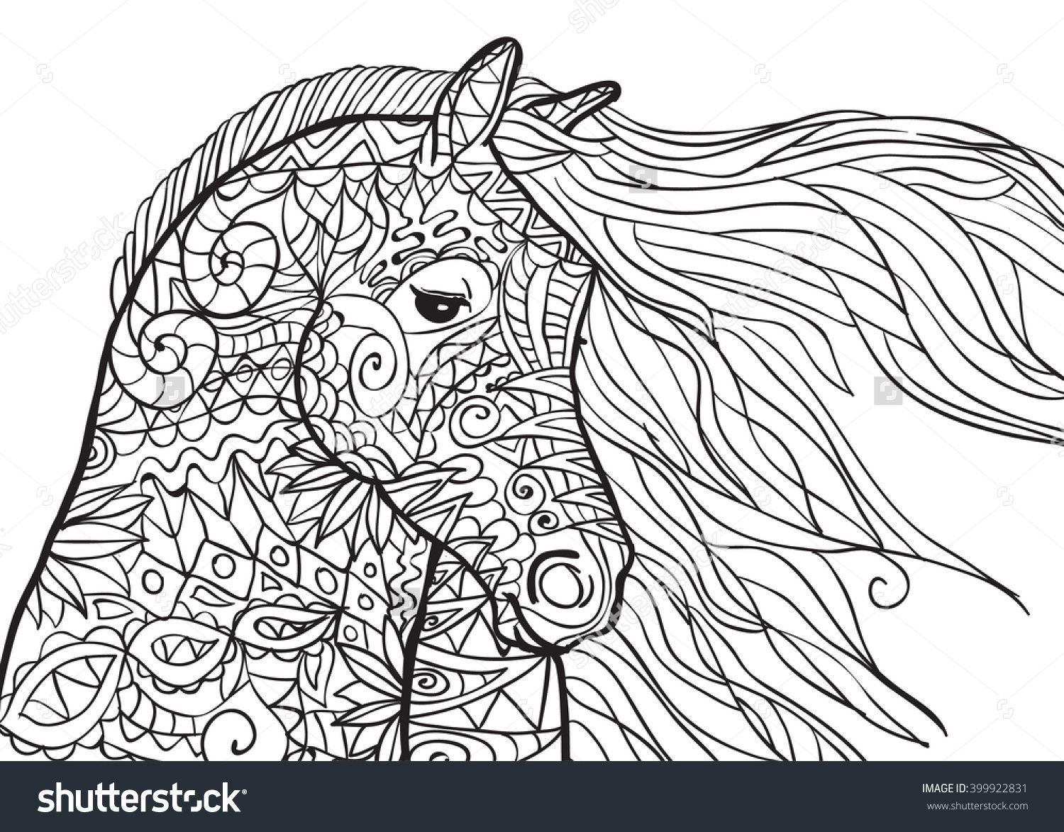 Best ideas about Horses Coloring Pages For Adults . Save or Pin Hand Drawn Coloring Pages With Horse s Head Illustration Now.