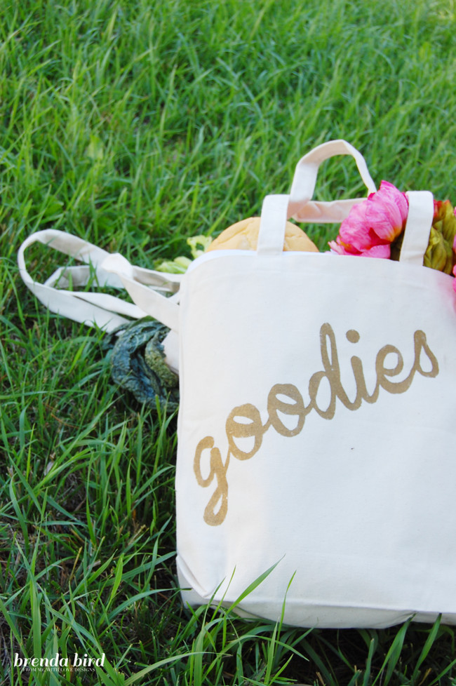 Best ideas about Hostess Gift Ideas For Weekend Stay . Save or Pin DIY HOSTESS GIFT STENCILED GOLD TOTE BAG BRENDA BIRD Now.