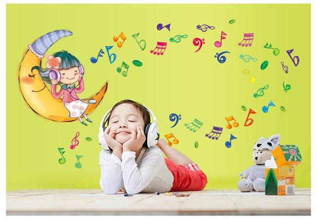 Best ideas about How To Listen Through Walls DIY . Save or Pin Girls Listen Music Cartoon Wall Sticker Children Rooms Now.
