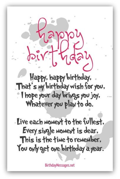 Best ideas about How To Wish Happy Birthday . Save or Pin Happy Birthday Poems Happy Birthday Messages Now.