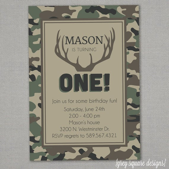 Best ideas about Hunting Birthday Invitations . Save or Pin Camo Birthday Invitation Now.