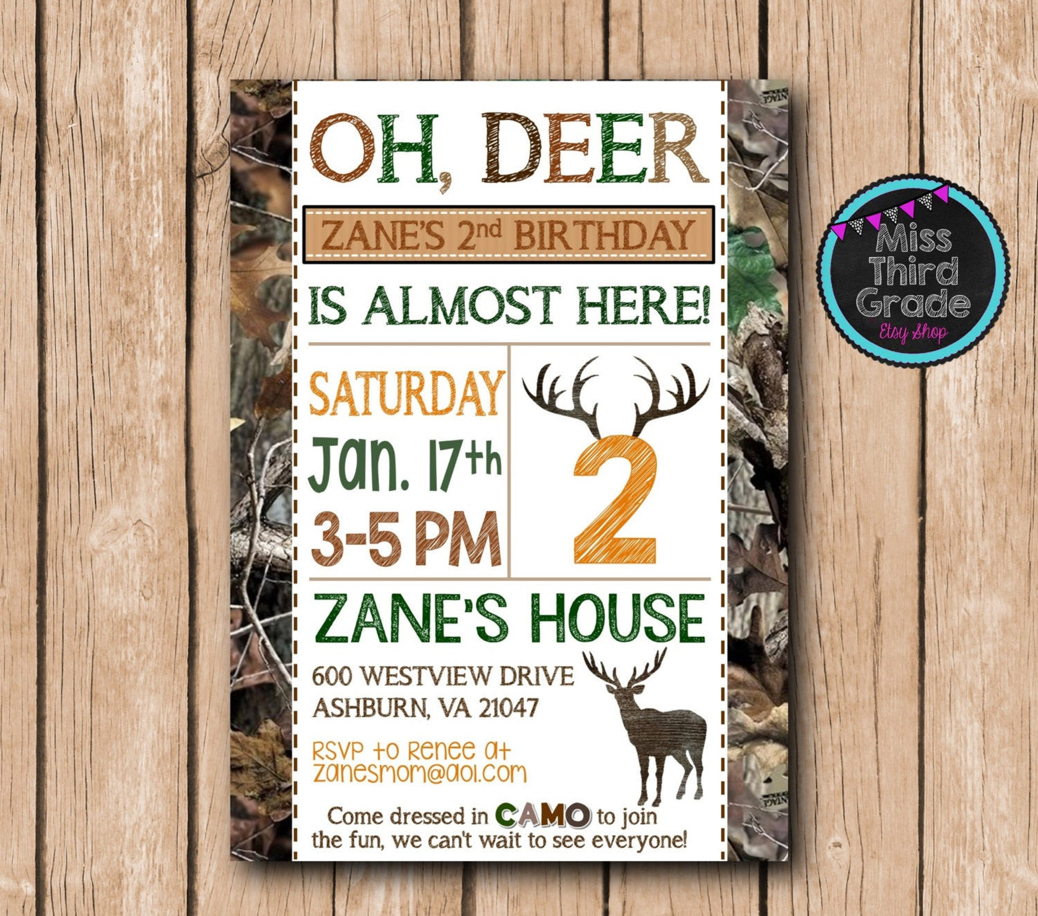 Best ideas about Hunting Birthday Invitations . Save or Pin Deer Hunting Birthday Invitation Hunting by MsThirdGrade Now.