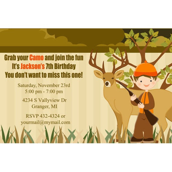 Best ideas about Hunting Birthday Invitations . Save or Pin Hunting Birthday Party Invitations Hunting Party Camo Now.