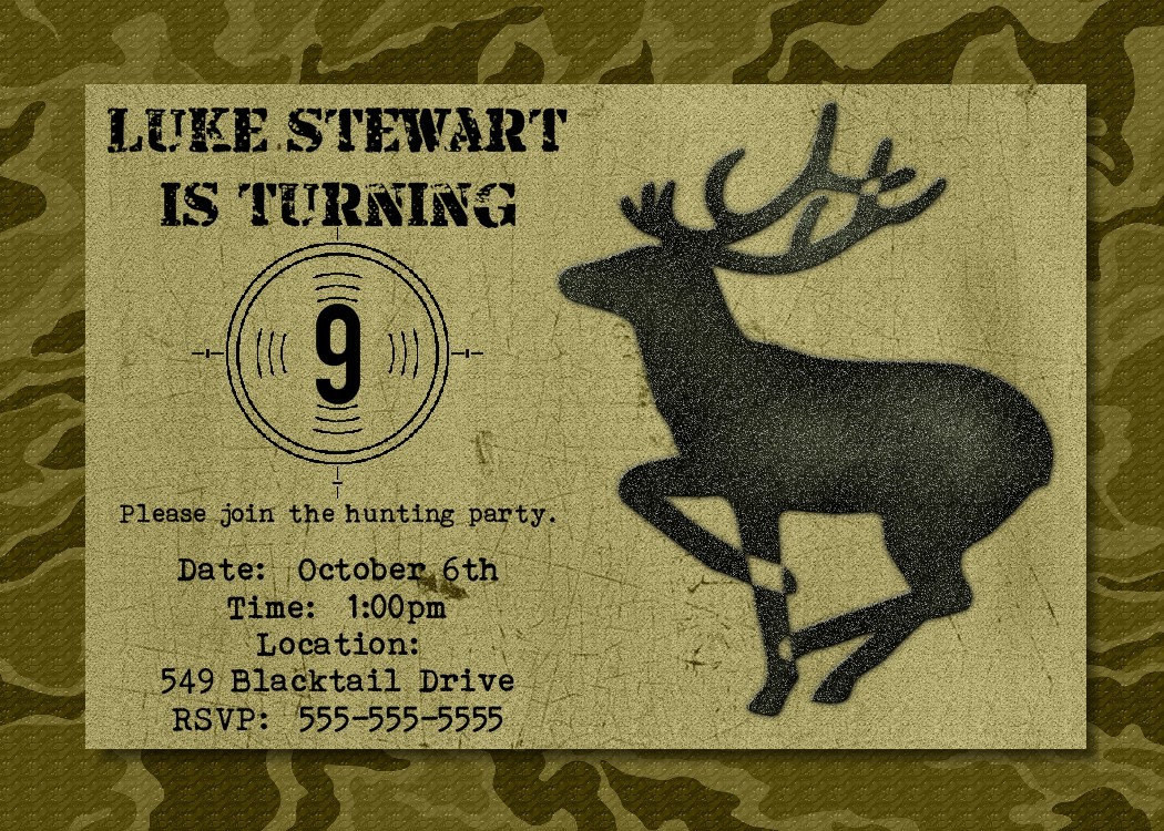 Best ideas about Hunting Birthday Invitations . Save or Pin Hunting Birthday Party Invitation Printable by Greetings Now.