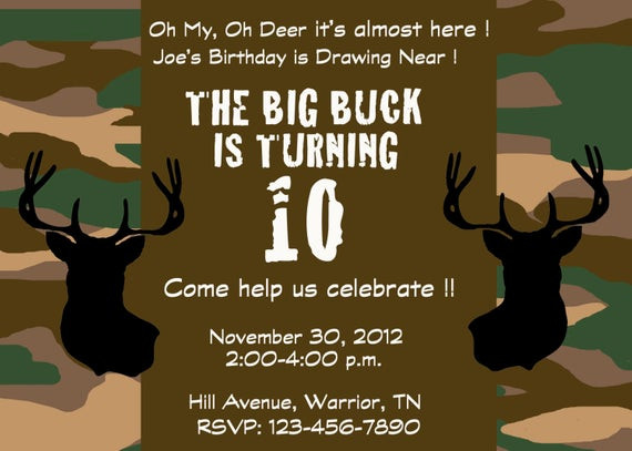 Best ideas about Hunting Birthday Invitations . Save or Pin Items similar to Deer hunting camo party invitation on Etsy Now.