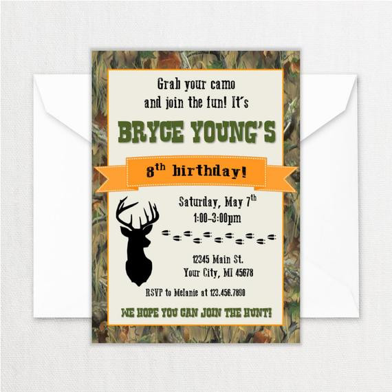 Best ideas about Hunting Birthday Invitations . Save or Pin Hunting Birthday Party Invitations Deer Theme Birthday Now.