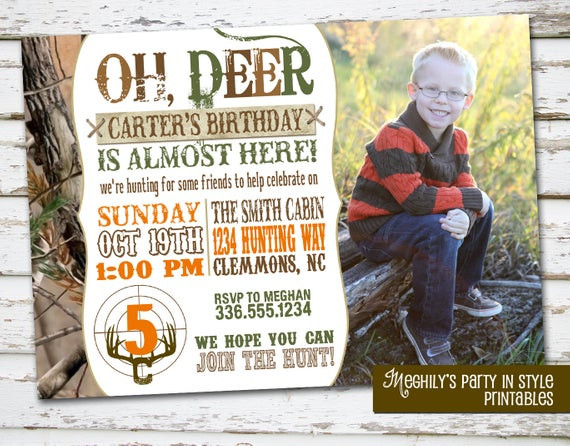 Best ideas about Hunting Birthday Invitations . Save or Pin Hunting Theme Birthday Invitation with Now.