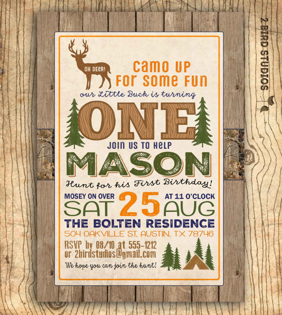 Best ideas about Hunting Birthday Invitations . Save or Pin Hunting birthday invitation Deer invitation 1st birthday Now.