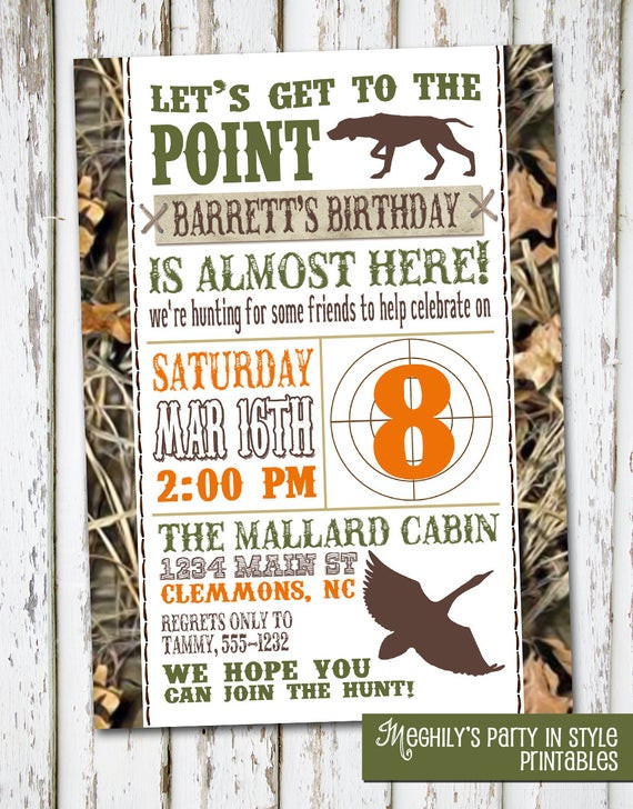 Best ideas about Hunting Birthday Invitations . Save or Pin Hunting Theme Birthday Invitation by Meghilys on Etsy Now.
