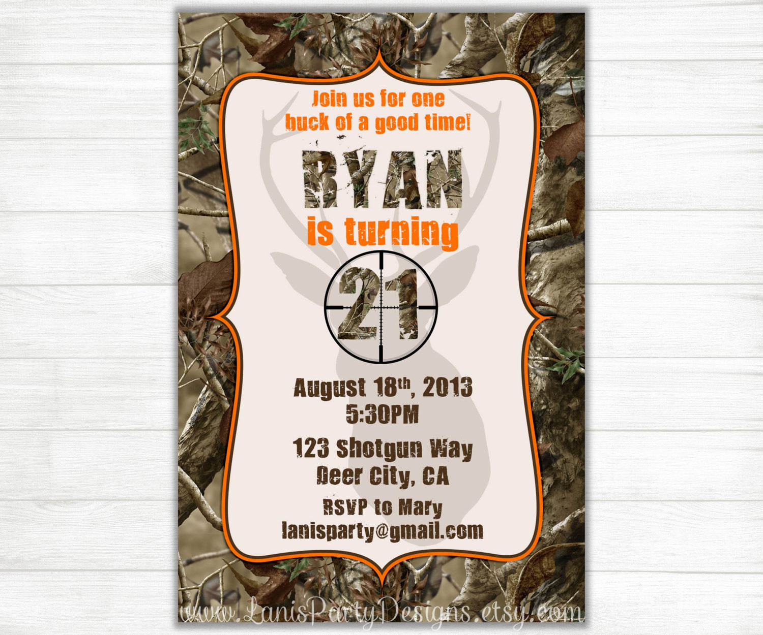 Best ideas about Hunting Birthday Invitations . Save or Pin Camo Birthday Invitations Buck Hunting 21st 18th 16th Now.