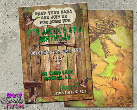 Best ideas about Hunting Birthday Invitations . Save or Pin CAMO BIRTHDAY INVITATION Hunting Birthday Invitation duck Now.
