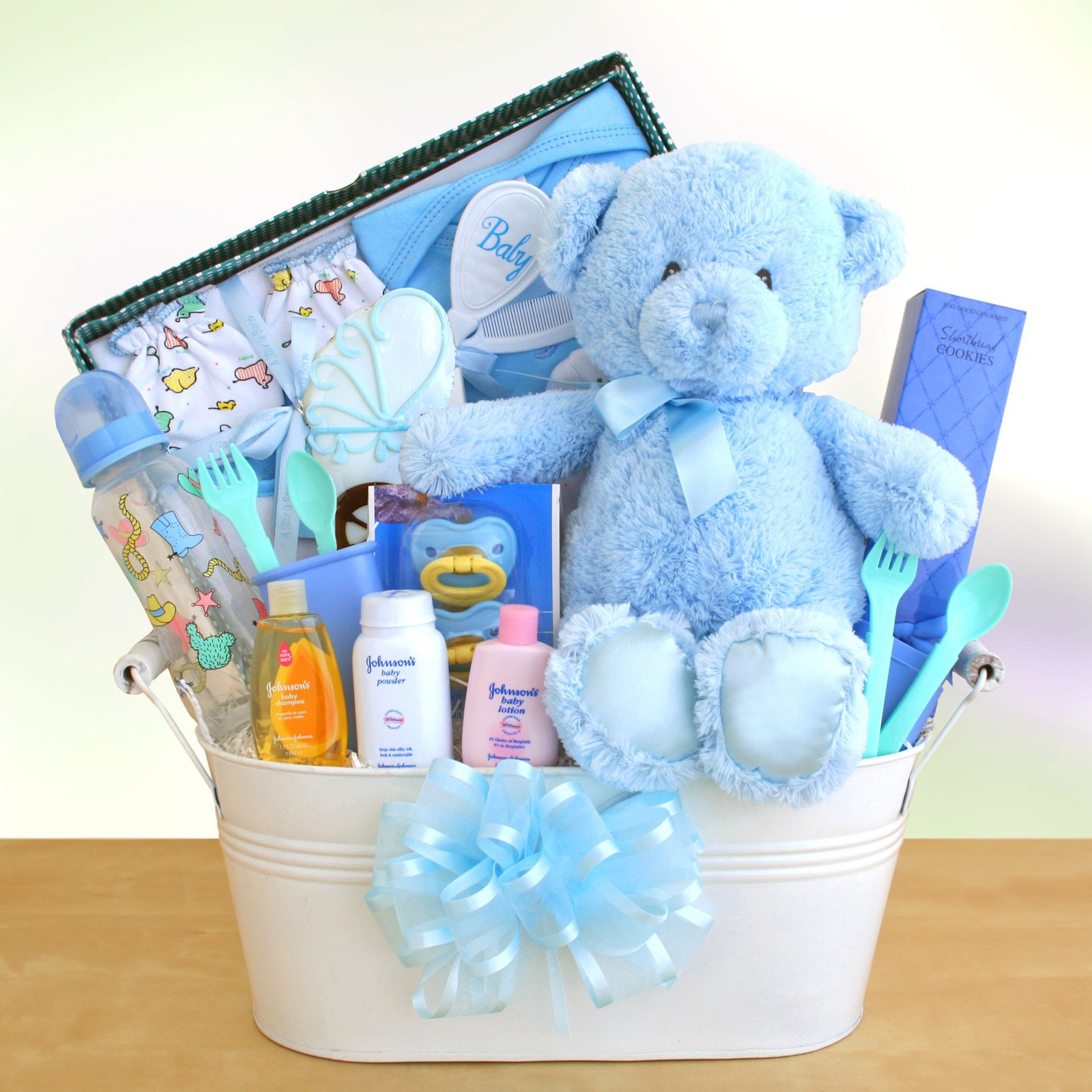 Best ideas about Ideas For A Baby Shower Gift . Save or Pin New Arrival Baby Boy Gift Basket Gift Baskets by Now.