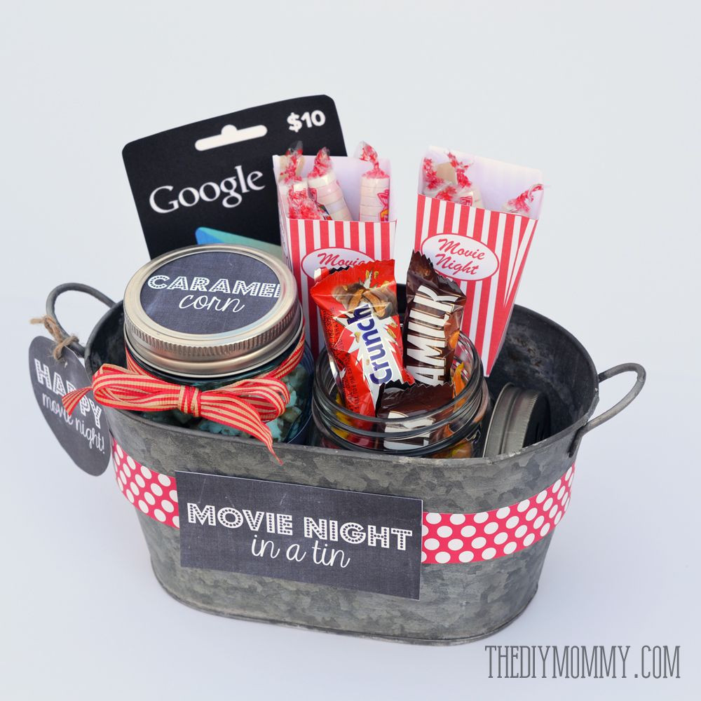 Best ideas about Ideas For A Movie Theater Gift Basket . Save or Pin A Gift In a Tin Movie Night in a Tin crafty Now.