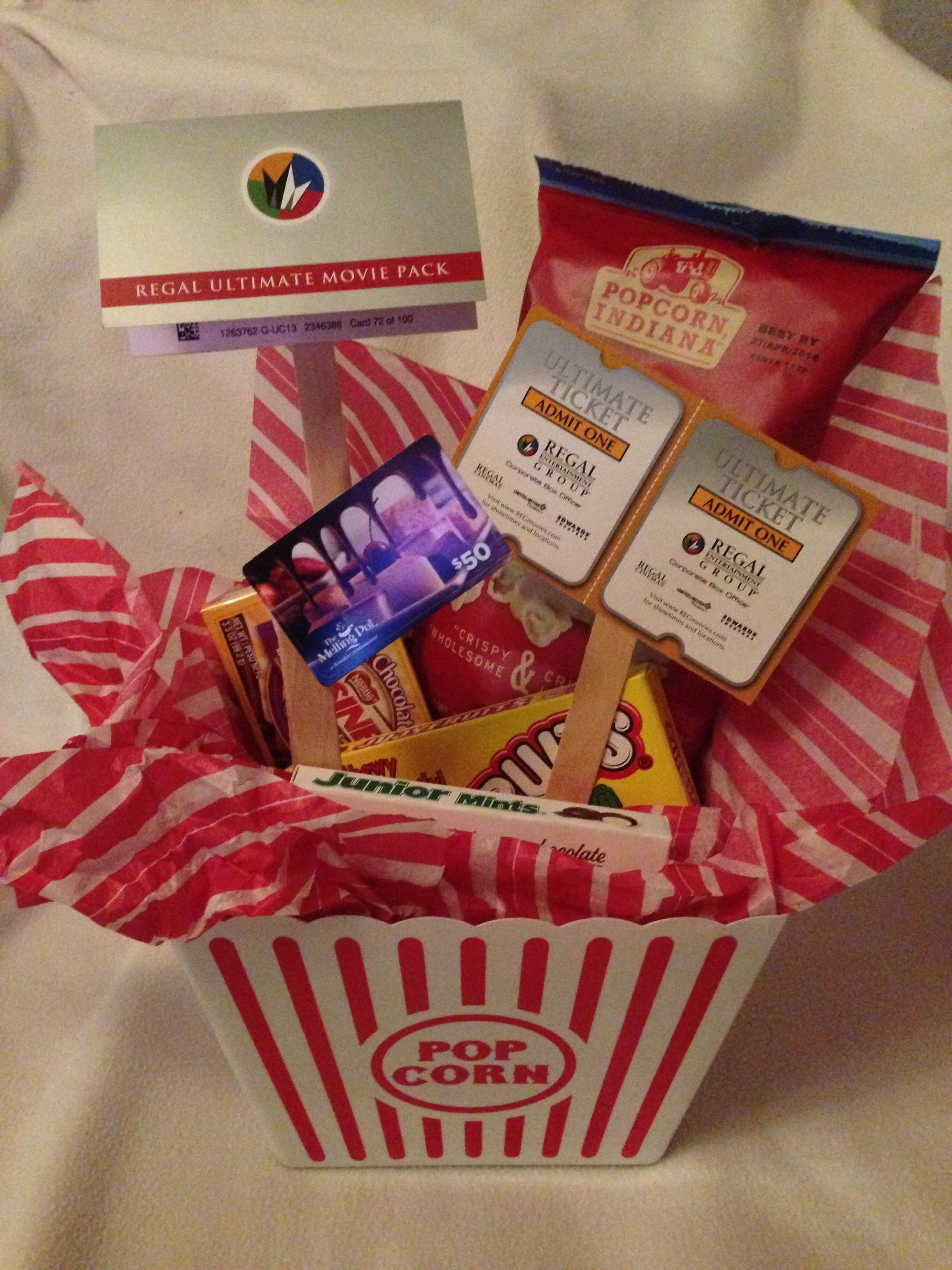 Best ideas about Ideas For A Movie Theater Gift Basket . Save or Pin Dinner & a movie Gift Movie theater snacks bag of Now.