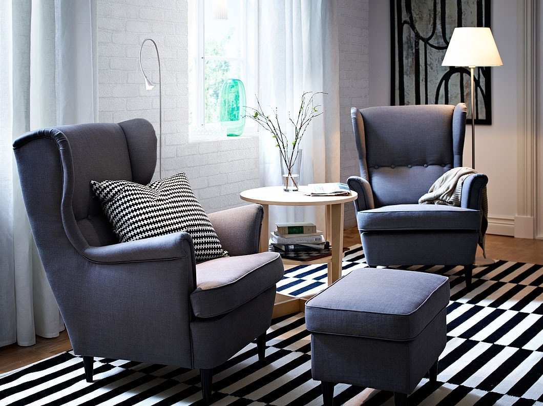Best ideas about Ikea Living Room Chairs . Save or Pin STRANDMON wing chairs and footstool with Svanby grey cover Now.