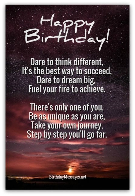 Best ideas about Inspirational Birthday Wishes . Save or Pin Inspirational Birthday Poems Unique Poems for Birthdays Now.