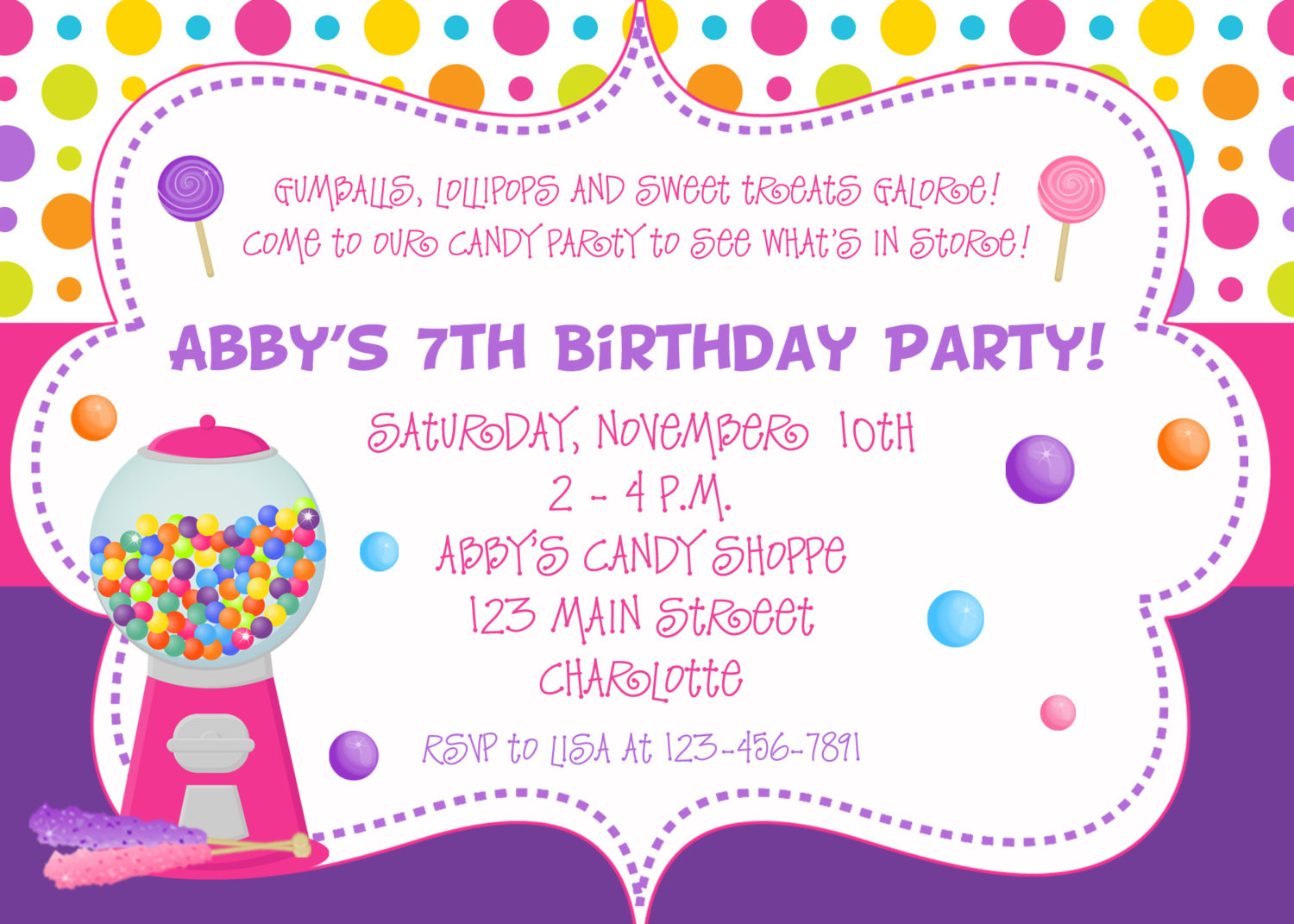Best ideas about Invitation For Birthday Party . Save or Pin Candy Birthday Party Invitation candy party by Now.