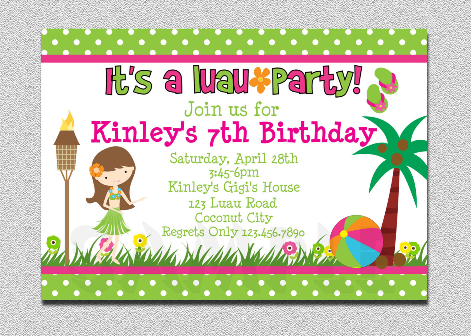 Best ideas about Invitation For Birthday Party . Save or Pin Luau Birthday Invitation Luau Birthday Party Invitation Now.