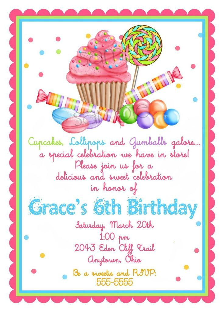 Best ideas about Invitation For Birthday Party . Save or Pin Sweet Shop Birthday party Invitations Candy Cupcake Now.