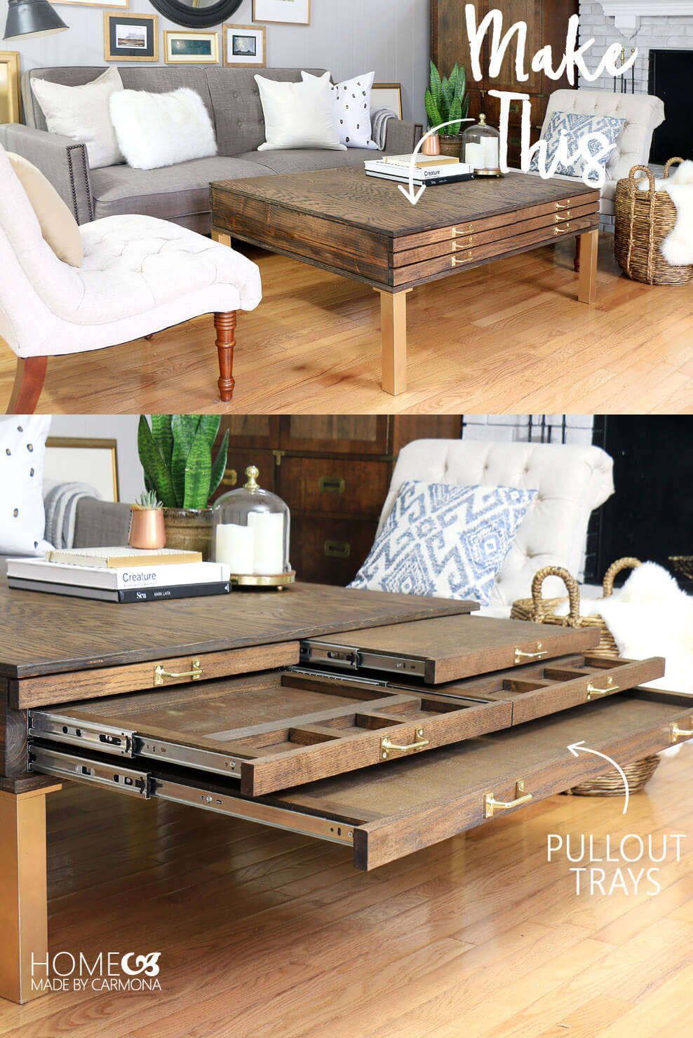 Best ideas about Jigsaw Table DIY . Save or Pin DIY Coffee Table With Pullouts Home Made By Carmona Now.