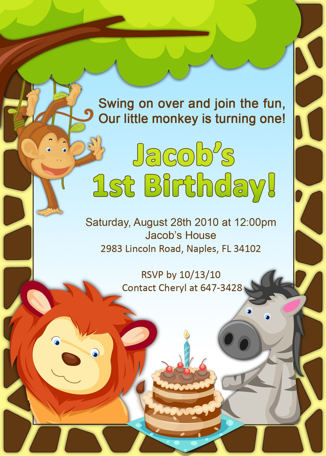 Best ideas about Jungle Theme Birthday Invitations . Save or Pin 1st Birthday Jungle Invitation Now.