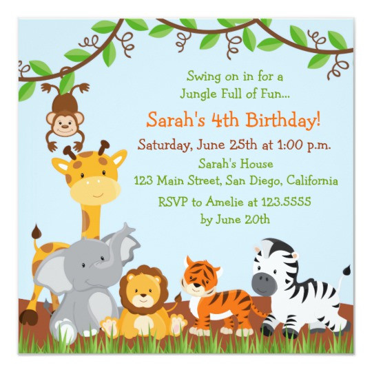 Best ideas about Jungle Theme Birthday Invitations . Save or Pin Cute Safari Jungle Birthday Party Invitations Now.