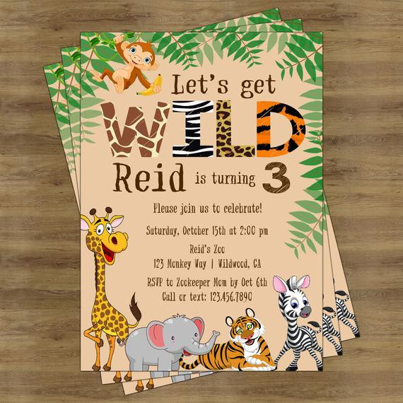 Best ideas about Jungle Theme Birthday Invitations . Save or Pin Safari Birthday Invitation Jungle Birthday Invitation Zoo Now.