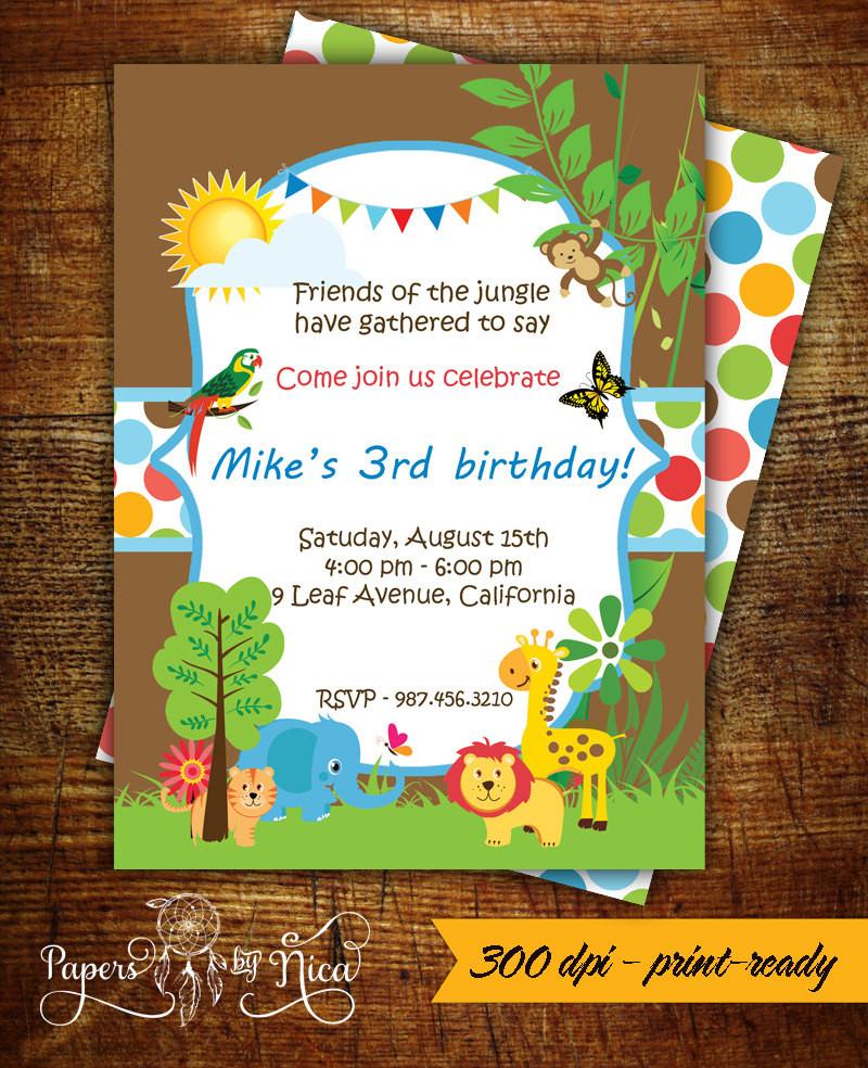 Best ideas about Jungle Theme Birthday Invitations . Save or Pin Safari Birthday Invitation Jungle Theme Printable Invitation Now.