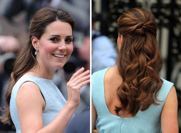 Best ideas about Kate Middleton Wedding Hairstyles . Save or Pin Kate Middleton's Hair In Blue Dress — Get Her Look With Now.