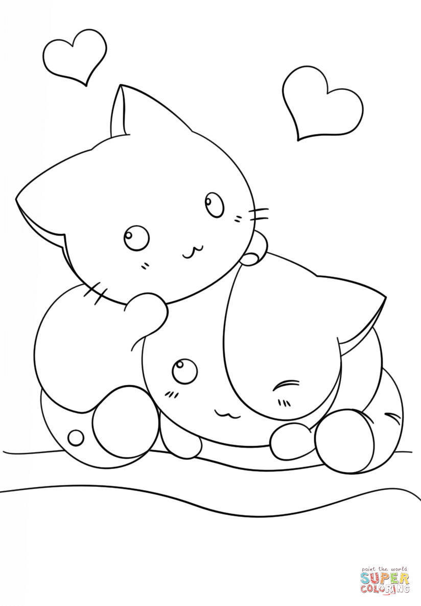 Best ideas about Kawaii Printable Coloring Pages For Girls . Save or Pin Kawaii Kittens coloring page Now.
