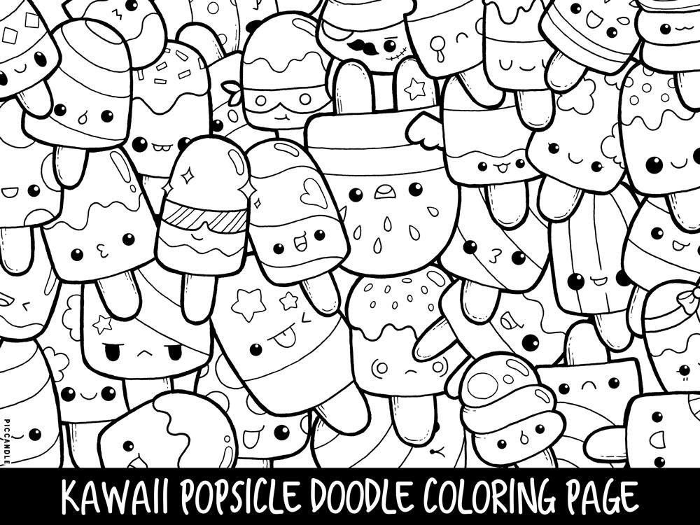 Best ideas about Kawaii Printable Coloring Pages For Girls . Save or Pin Popsicle Doodle Coloring Page Printable Cute Kawaii Coloring Now.