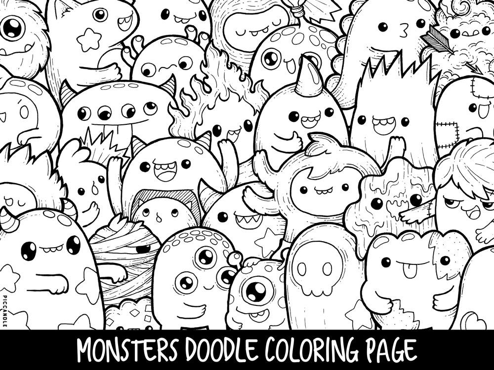 Best ideas about Kawaii Printable Coloring Pages For Girls . Save or Pin Monsters Doodle Coloring Page Printable Cute Kawaii Coloring Now.