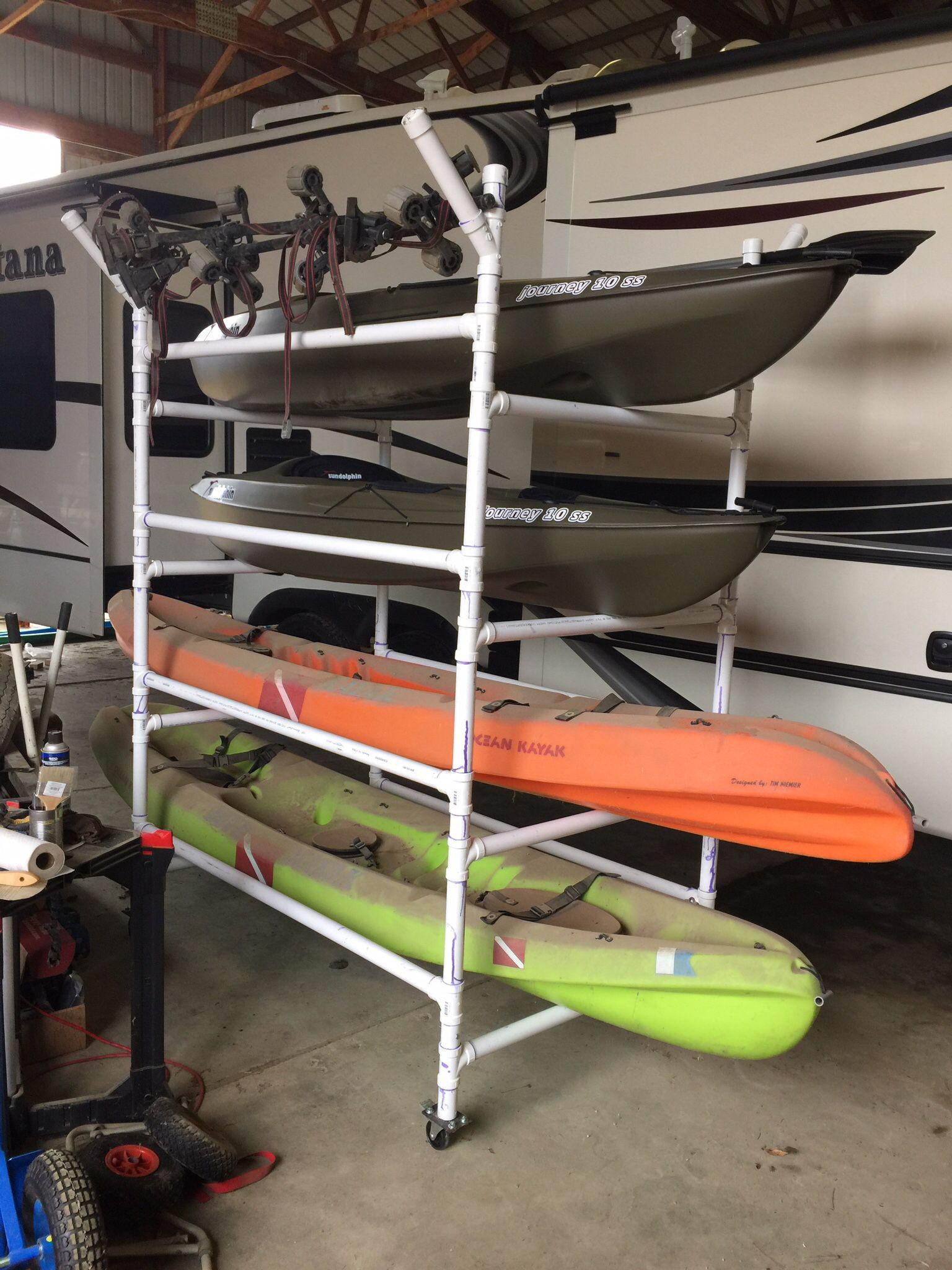 Best ideas about Kayak Storage Rack DIY . Save or Pin Homemade PVC kayak rack can store 4 kayaks paddles Now.