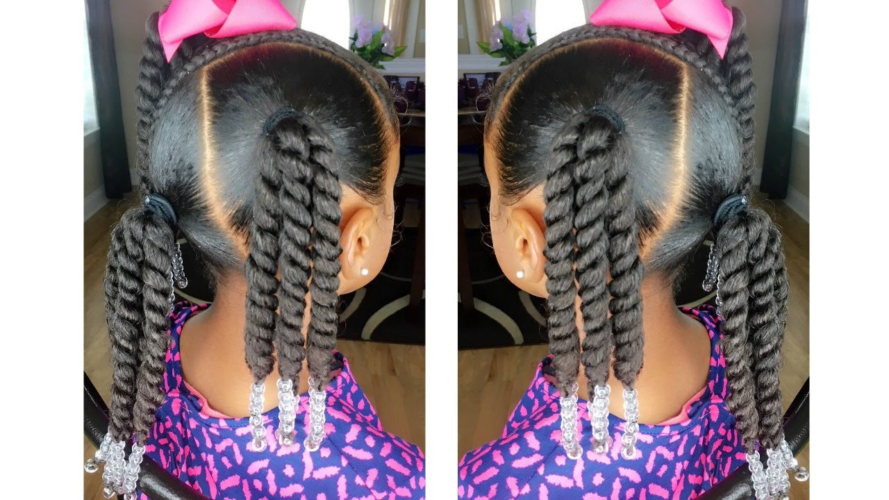 Best ideas about Kids Hairstyles With Beads . Save or Pin Rope Twist Ponytails w Beads Tutorial Now.