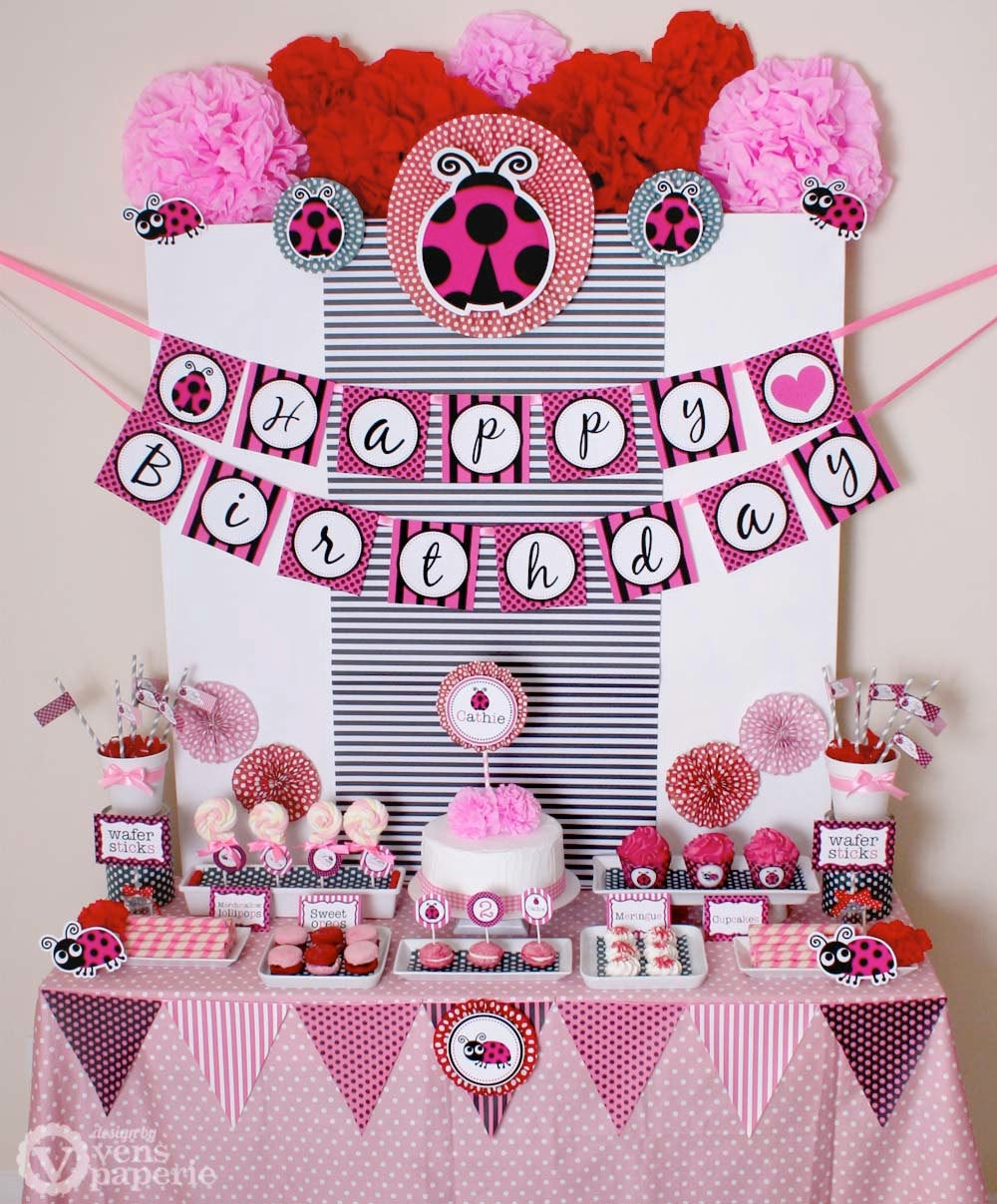 Best ideas about Ladybug Birthday Decorations . Save or Pin Pink Lady Bug Birthday Party Package Personalized by Now.