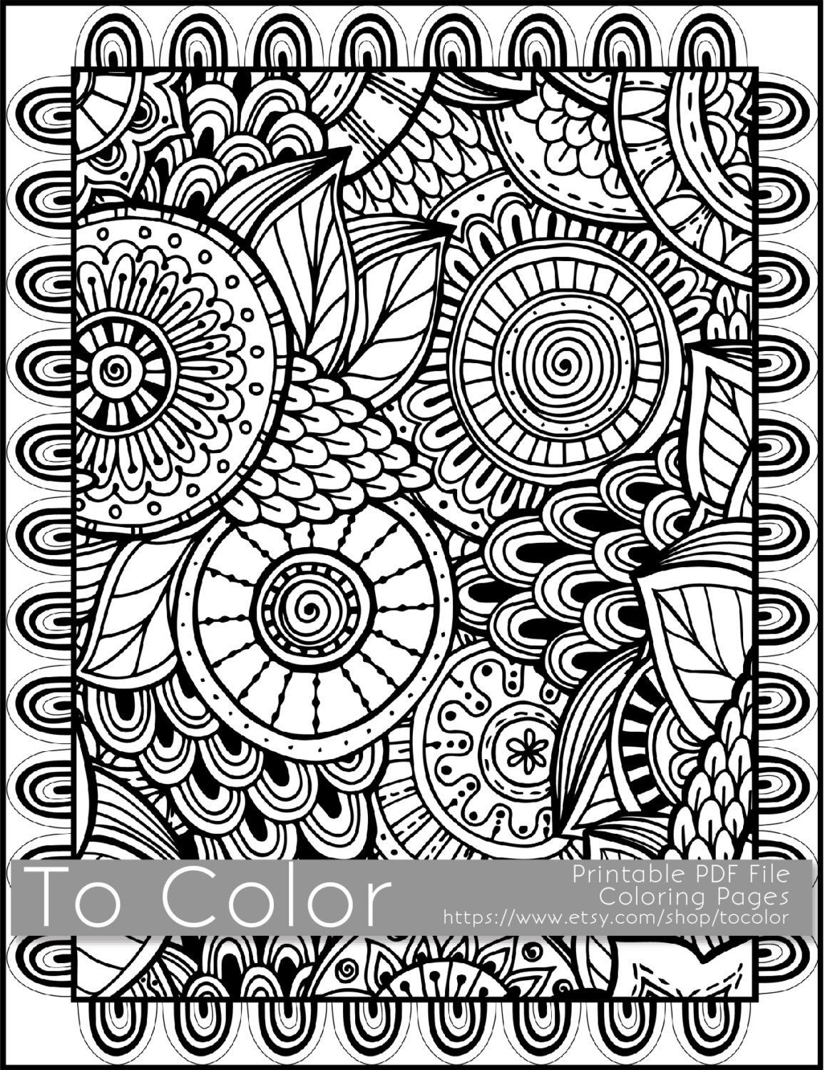 Best ideas about Large Adult Coloring Books . Save or Pin Printable Coloring Pages for Adults All Over Doodle Now.