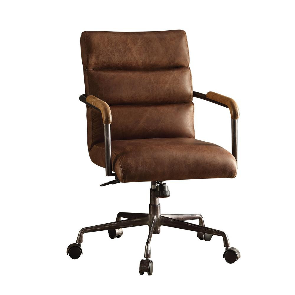 Best ideas about Leather Office Chair . Save or Pin ACME Furniture Harith Retro Brown Top Grain Leather fice Now.