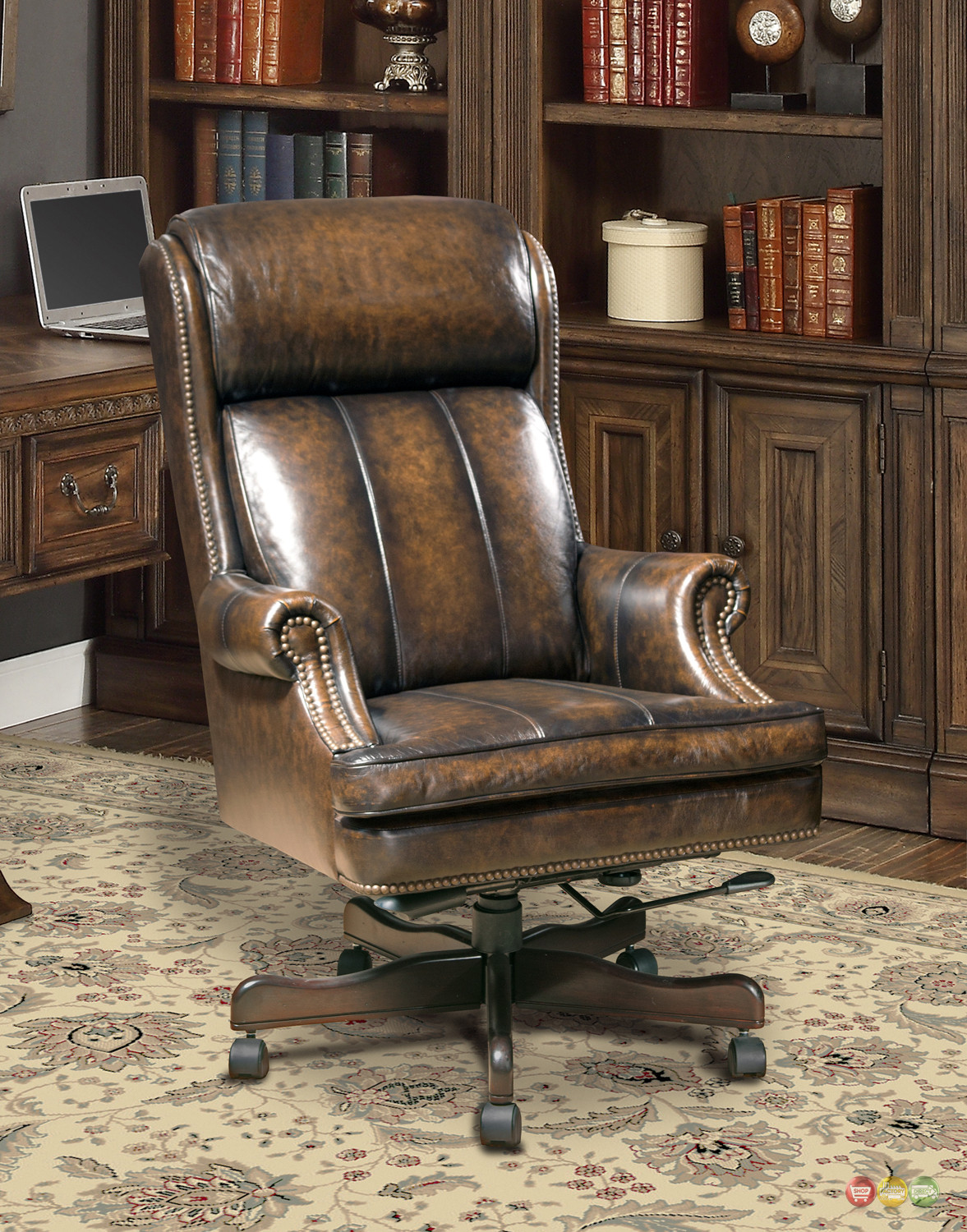 Best ideas about Leather Office Chair . Save or Pin Executive fice Desk Chair Genuine Brown Leather Now.