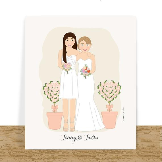 Best ideas about Lesbian Wedding Gift Ideas . Save or Pin Lesbian wedding t custom couple portrait anniversary t Now.