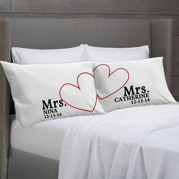 Best ideas about Lesbian Wedding Gift Ideas . Save or Pin MRS and MRS Personalized Pillowcases Lesbian Couple Gift Now.