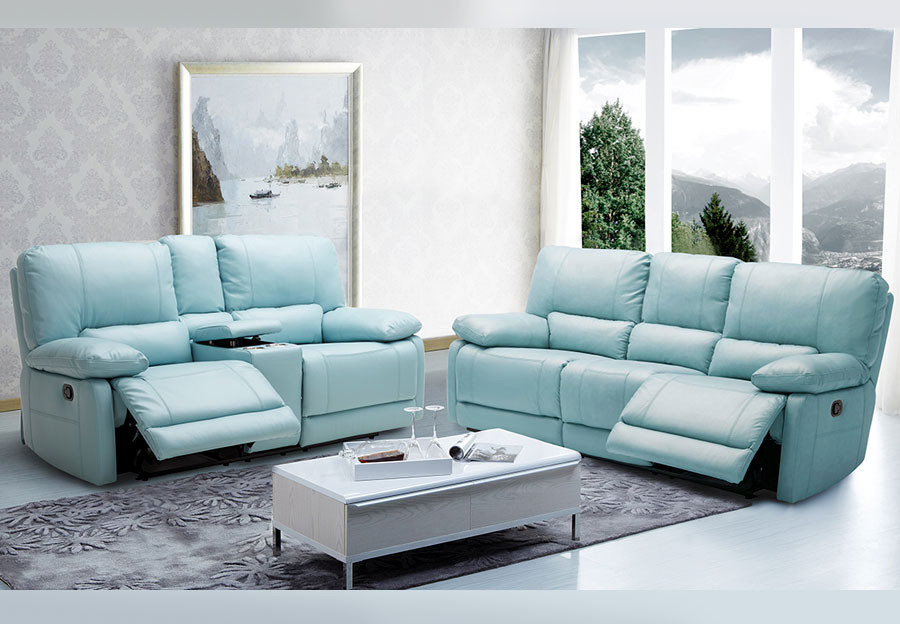Best ideas about Light Blue Leather Sofa . Save or Pin Kuka Maui Sand Power Recliner Leather Match Now.