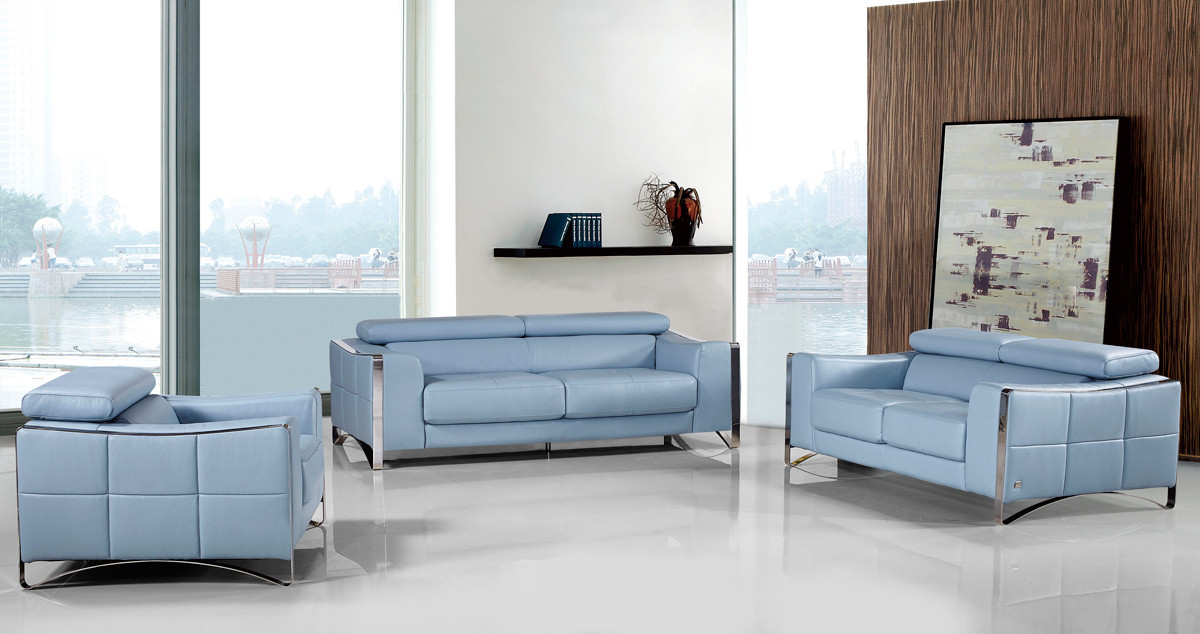 Best ideas about Light Blue Leather Sofa . Save or Pin Divani Casa 1504 Modern Light Blue Leather Sofa Set Now.