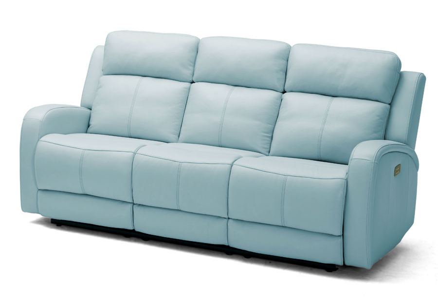 Best ideas about Light Blue Leather Sofa . Save or Pin Kuka Milano Light Blue Reclining Sofa Leather Match Now.